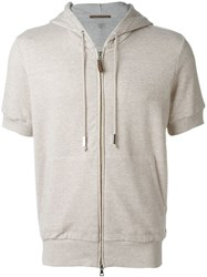 Eleventy Short Sleeve Zipped Hoodie Nude And Neutrals
