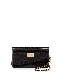 St. John Patent Logo Embossed Shoulder Bag Black