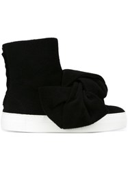 Joshua Sanders Oversized Bow Boots Black
