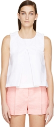 Kenzo White Embossed Pleated Sleeveless Top
