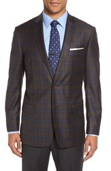Hart Schaffner Marx Men's 'Jetsetter' Classic Fit Plaid Wool Sport Coat Dark Brown