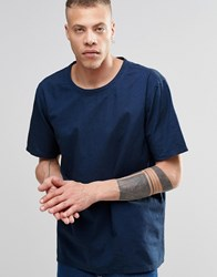 Weekday Zephyr Denim T Shirt Indigo Indigo 76 101 Blue