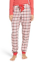 Make Model Women's Plaid Flannel Lounge Pants Ivory Egret Rose Plaid