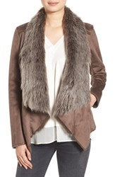 Bcbgeneration Women's Faux Shearling Drape Front Jacket Taupe