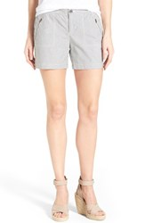 Women's Caslon 'Addison' Zip Pocket Shorts Navy Ivory Mini Stripe