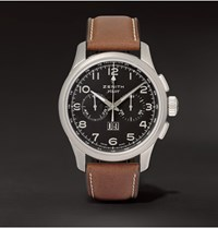 Zenith Pilot Stainless Steel And Leather Watch