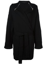 Barbara Bui Zipped Cape Belted Cardigan Black