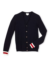 Gucci Wool Web Trim Button Front Cardigan Navy Size 4 12 Boy's Size 10