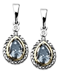 Macy's 14K Gold And Sterling Silver Earrings Aquamarine 3 4 Ct. T.W. And Diamond Accent Teardrop Earrings