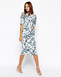 Asos Wiggle Dress In Texture With Blue Floral Print Blueprint