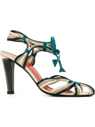 Yves Saint Laurent Vintage Strappy Sandals Multicolour