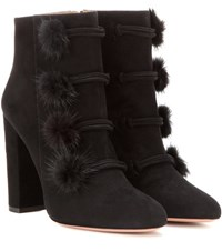 Aquazzura Fur Trimmed Suede Ankle Boots Black