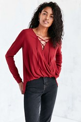 Silence And Noise Lace Up Surplice Blouse Maroon