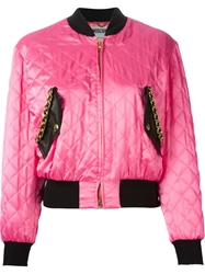 Moschino Quilted Bomber Jacket Pink And Purple