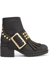 Burberry Prorsum Studded Coated Leather Ankle Boots Black