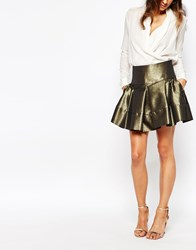 Helene Berman Full Mini Skirt In Gold Metallic Fabric Gold