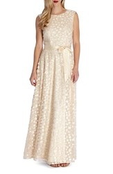 Tahari Women's Sequin Applique Woven Gown