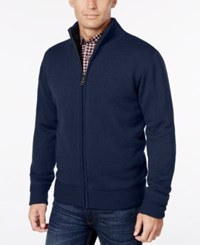 Weatherproof Vintage Men's Lined Zip Front Cardigan Navy