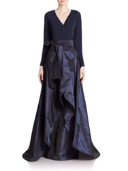 Teri Jon By Rickie Freeman Jersey And Taffeta Wrap Gown Navy