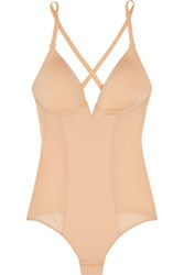 Cosabella Underwired Stretch Satin And Mesh Bodysuit Neutral