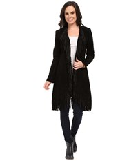 Scully Helena Long Soft Suede Fringe Leopard Lining Coat Black Women's Coat