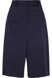 Jil Sander Oversized Stretch Cotton Twill Shorts Blue