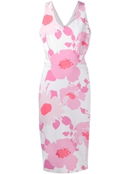 Victoria Beckham Floral Fitted Dress White