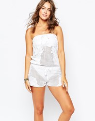 Seafolly Hope Springs Lace Beach Playsuit White