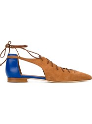 Malone Souliers 'Montana' Colour Block Lace Up Flat Sandals Brown