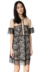 Kendall Kylie Paneled Lace Babydoll Dress Black