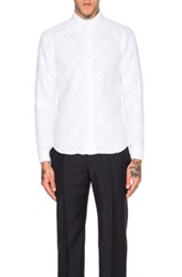 Burberry Prorsum Long Sleeve Lace Shirt In White
