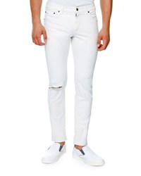 Dolce And Gabbana Classic Distressed Stretch Denim Skinny Jeans White