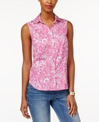 Charter Club Sleeveless Floral Print Shirt Only At Macy's Spanish Rose