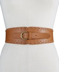 Inc International Concepts Whipstitch Tapered Stretch Belt Only At Macy's Cognac