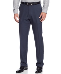 Kenneth Cole Reaction Stretch Gaberdine Solid Twill Pants Navy