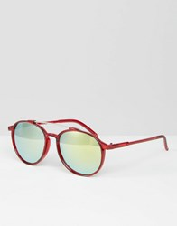 Trip Round Sunglasses With Mirror Lens Red