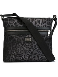 Dolce And Gabbana Leopard Print Shoulder Bag Grey