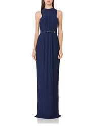 Js Boutique Pleated Sequined Waist Gown Navy