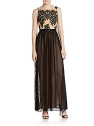 Abs By Allen Schwartz Lace And Mesh Gown Black Nude