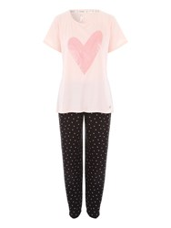 Jane Norman Heart Printed Legging Nightwear Pj Set Black