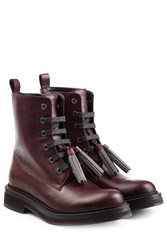 Brunello Cucinelli Leather Boots With Embellished Tassels Red