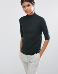Y.A.S Romain Knitted High Neck Top Green