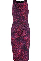 Badgley Mischka Pleated Printed Crepe De Chine Dress Magenta