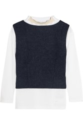 Toga Layered Wool Felt And Cotton Jersey Top Storm Blue