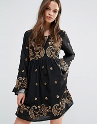 Glamorous Petite Long Sleeve Skater Dress With Paisley Embroidery Black