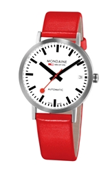 Mondaine 'Classic' Automatic Leather Strap Watch 33Mm Red Silver