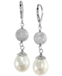 Effy Collection Effy Cultured Freshwater Pearl Drop Earrings In Sterling Silver 10Mm Black