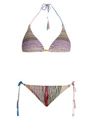 Missoni Mare Stripe Knit Halterneck Triangle Bikini Multi