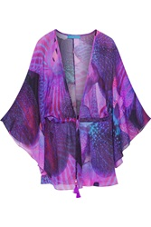 Matthew Williamson Waterfall Printed Silk Chiffon Top Purple