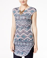 Almost Famous Juniors' Printed High Low Tunic Teal Multi